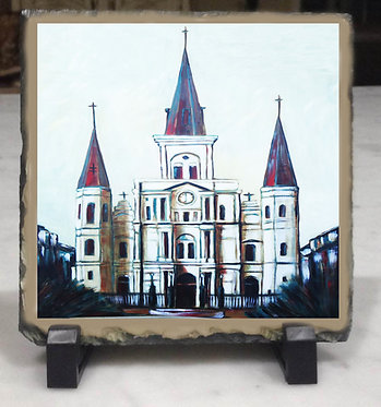 St Louis Cathedral slate tile with easel
