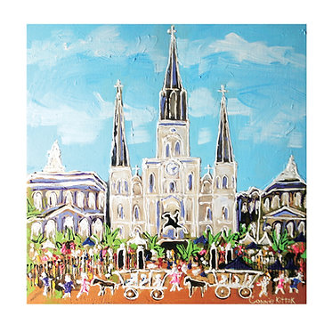 "St.Louis Cathedral  - Platter 14"" x 14"" ceramic"