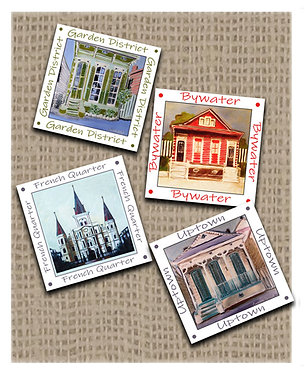 New Orleans Coasters, set of 4, cork backing