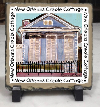 New Orleans Creole Cottage Connie Kittok art on Slate tile with easels