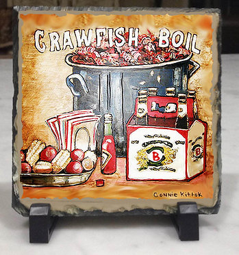 Louisiana Crawfish Boil - slate tile with easel