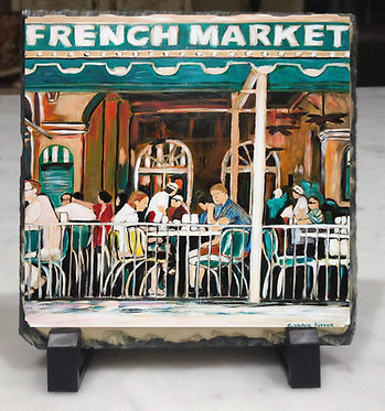 French Market - slate tile with easel