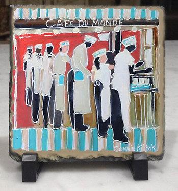 Cafe Du Monde - slate tile with easel