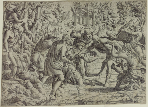 Cassandra stopping Deiphobus from killing their brother Paris, from The Trojan War, after Luca Penni