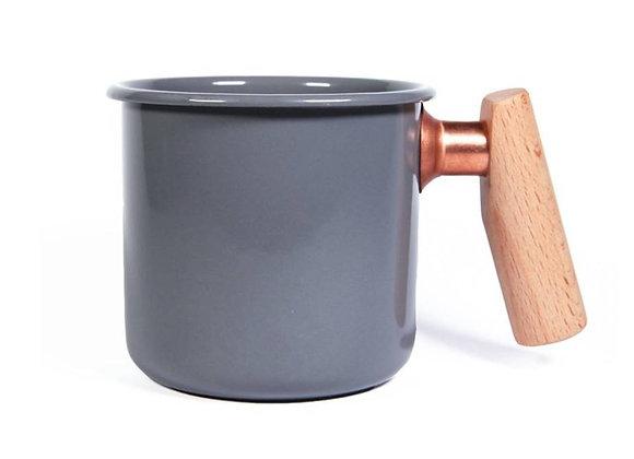 Truvii Handmade Enamel Coffee Mug - Grey (400ml)