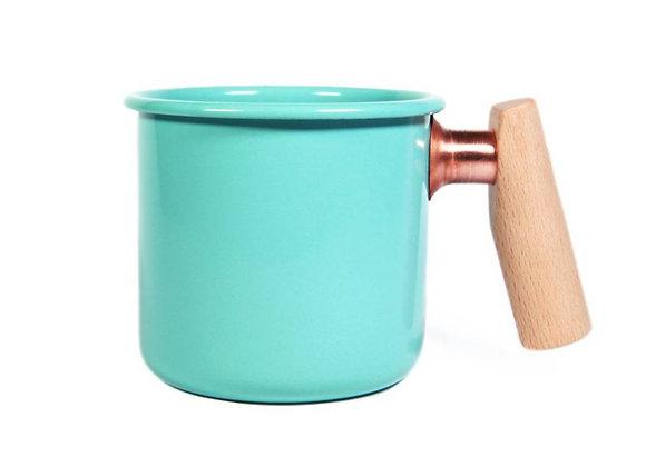 Truvii Handmade Enamel Coffee Mug - AQUA BLUE (400ml)
