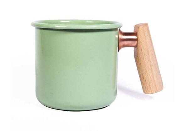 Truvii Handmade Enamel Coffee Mug - Green (400ml)