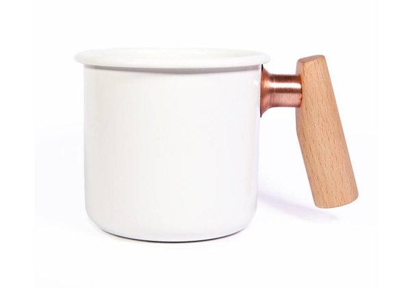 Truvii Handmade Enamel Coffee Mug - White (400ml)