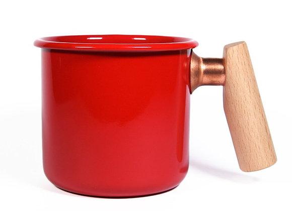 Truvii Handmade Enamel Coffee Mug - Red (400ml)