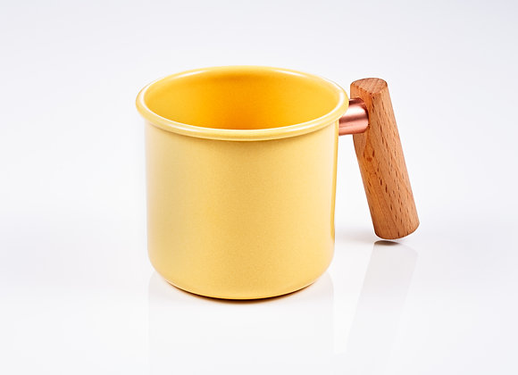 Truvii Handmade Enamel Coffee Mug (TEAK Wood Handle) - Yellow (400ml)