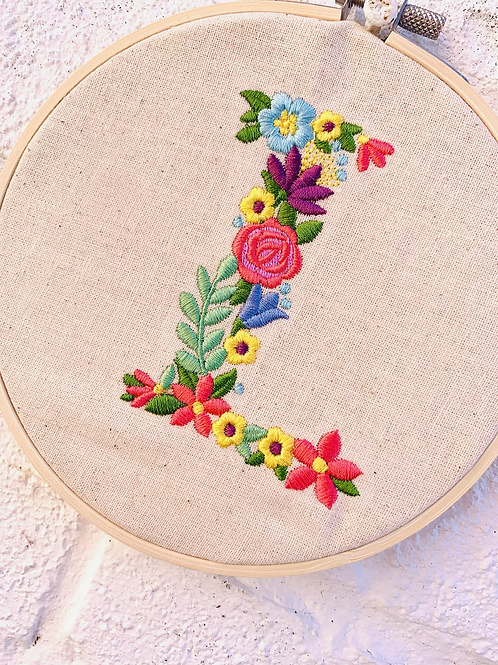 Floral Letter Embroidery Hoop Wall Hanging