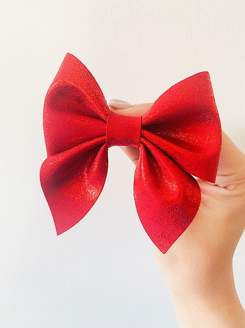 Red Pinch Bow 3.5""