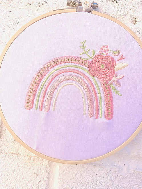 Floral Rainbow Embroidery Hoop Wall Hanging