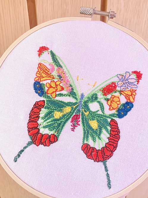 Butterfly Embroidery Hoop Wall Hanging