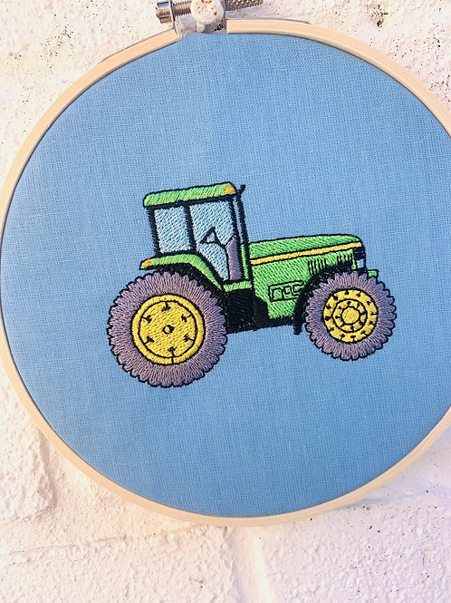 Tractor Embroidery Hoop Wall Hanging