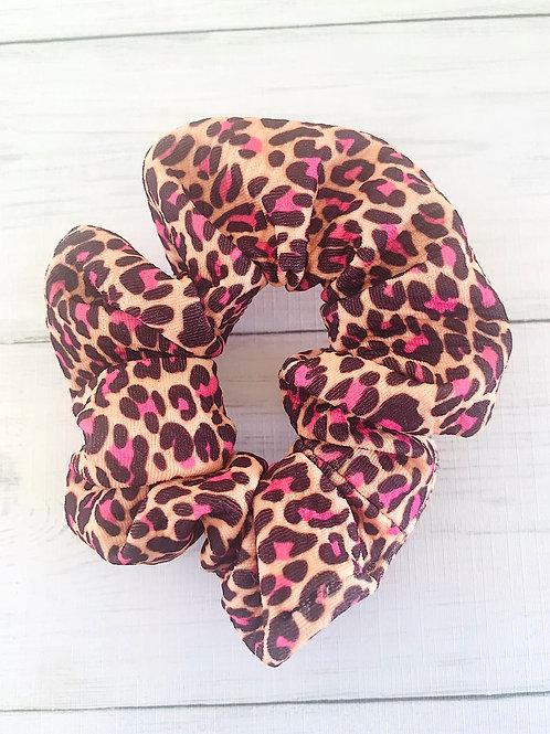 Pink Leopard Scrunchie