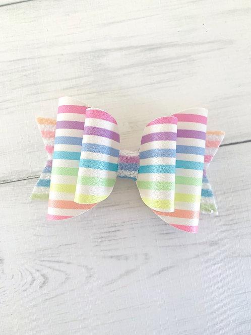 "Pastel Stripes Bow 3.5"""