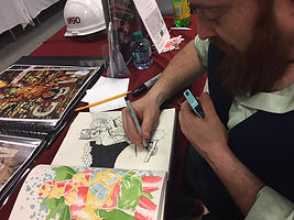 MeSseD artist Dylan Speeg sketches at SPACE Small Press and Arts Expo 2017 Columbus, Ohio.
