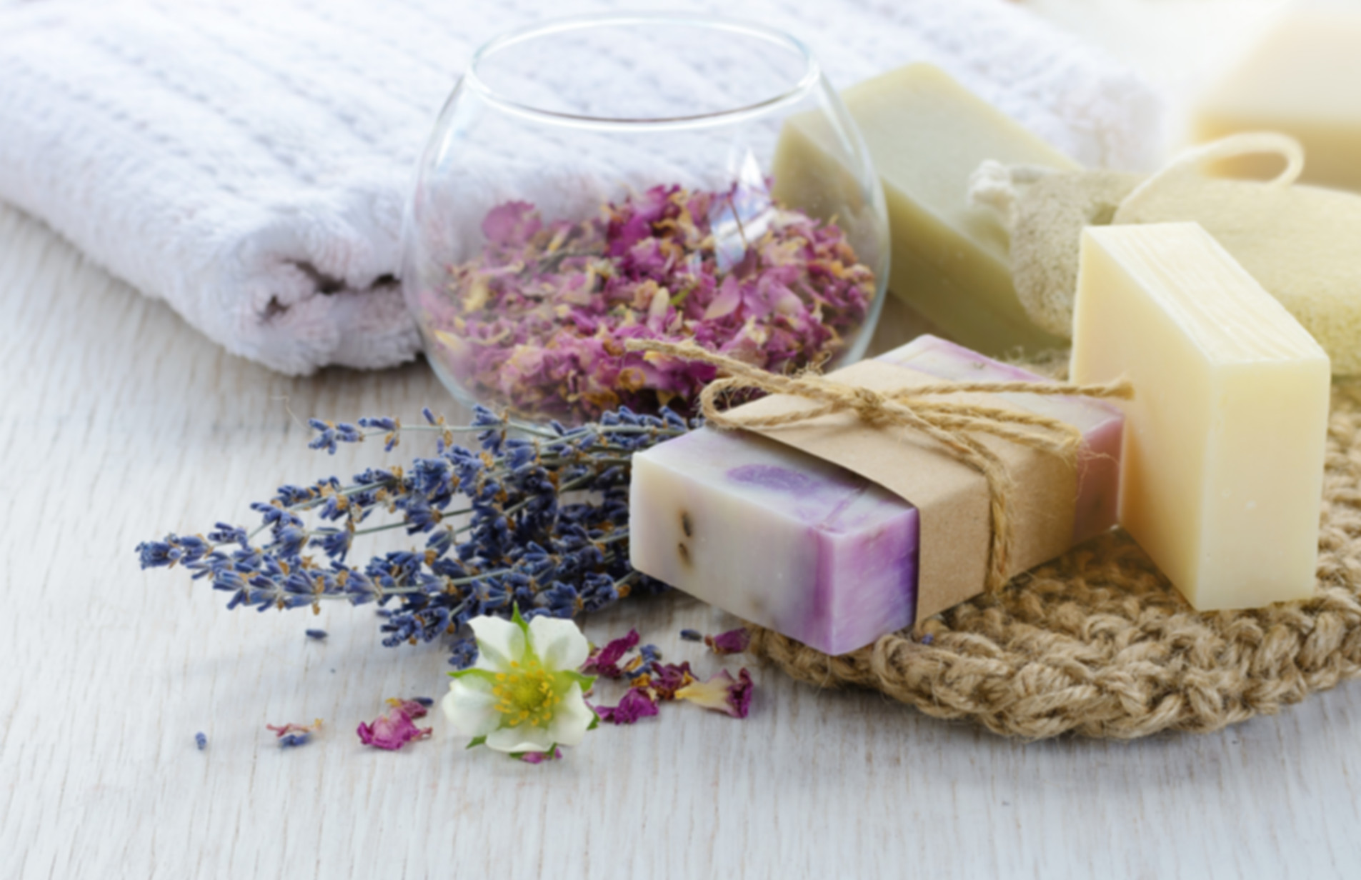 Handmade Soap with bath and spa accessor