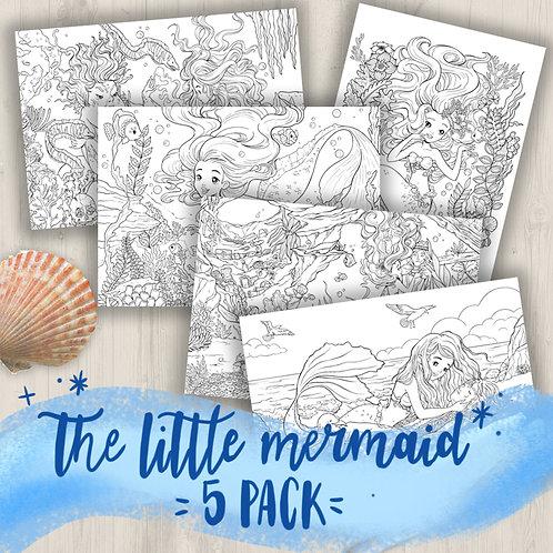 Coloring Page Printable LITTLE MERMAID 5 PACK - Line Art