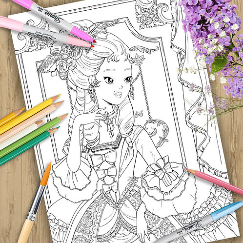 "Coloring Page Printable Page ""Baroque Girl"" Line Art"