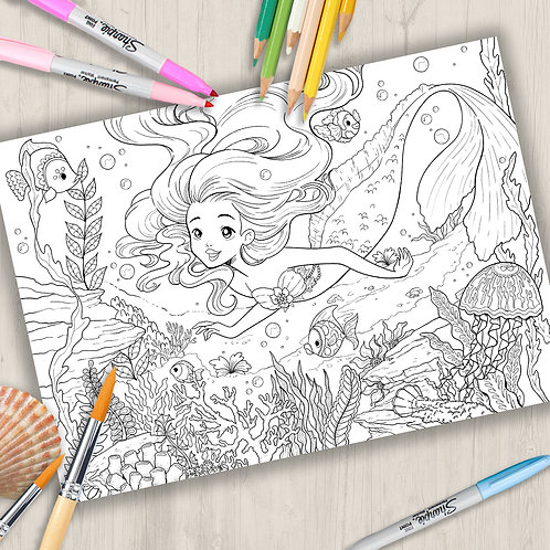 """Coloring Page Printable """"under the sea"""" Line Art"""