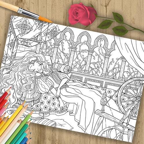 "Coloring Page Printable ""Sleeping Beauty"" Line Art"
