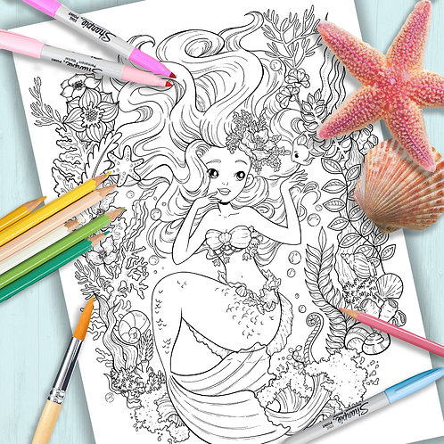 """Coloring Page Printable Page """"the little Mermaid"""" Line Art"""