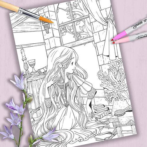 "Coloring Page Printable ""Rapunzel"" Line Art"