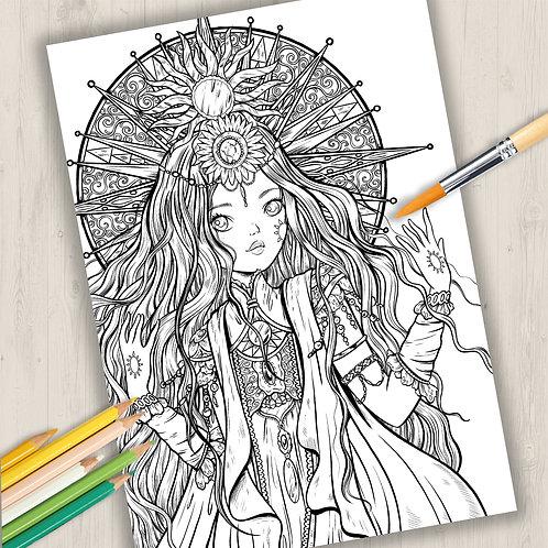 "Coloring Page Printable Page ""the Sun Princess"" Line Art"