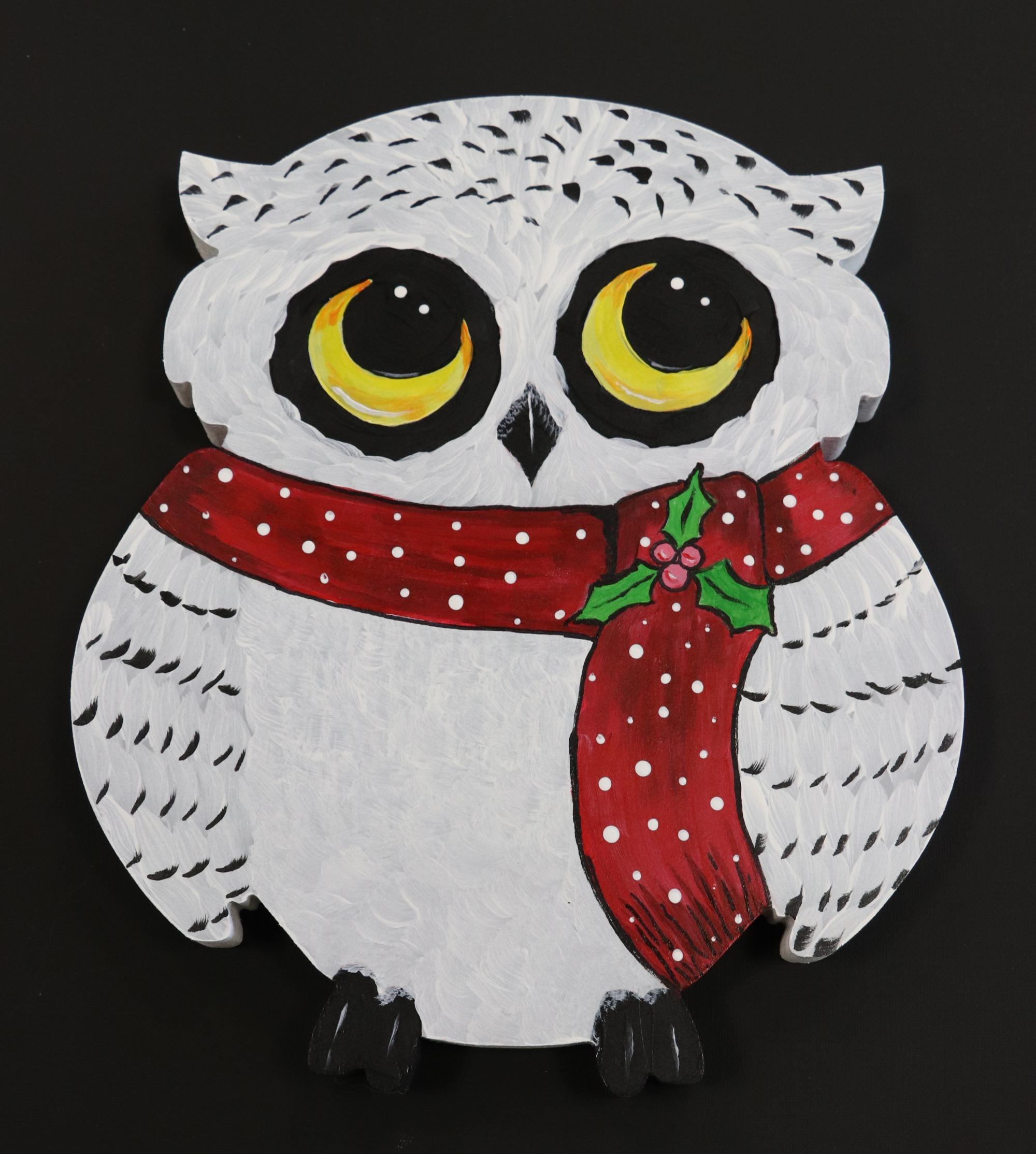 Christmas Owl.Wood Paint Christmas Owl
