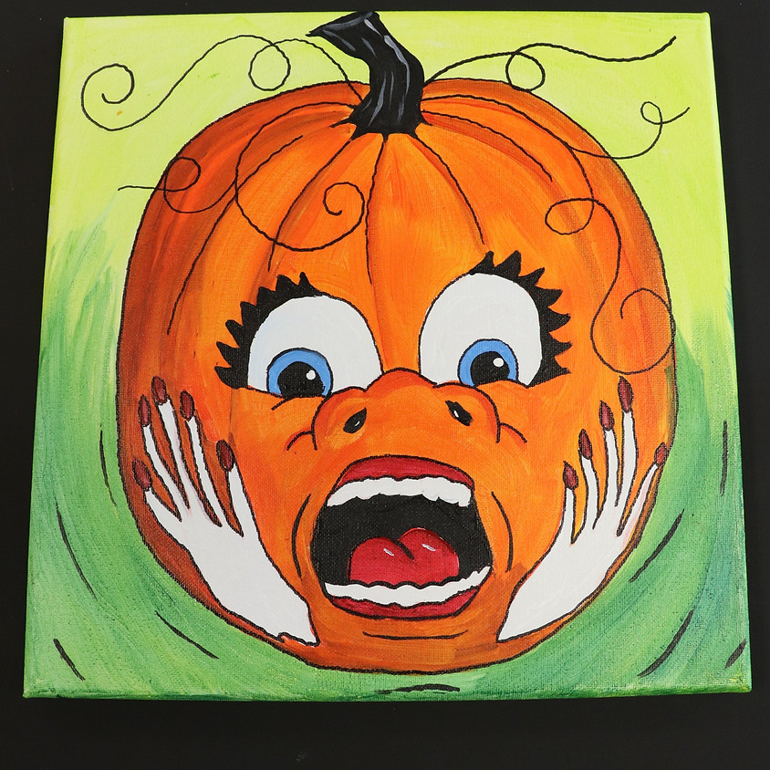 Canvas Paint: Screaming Pumpkin