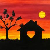 Heart Home Sunset