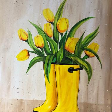 Flowers in rain boots