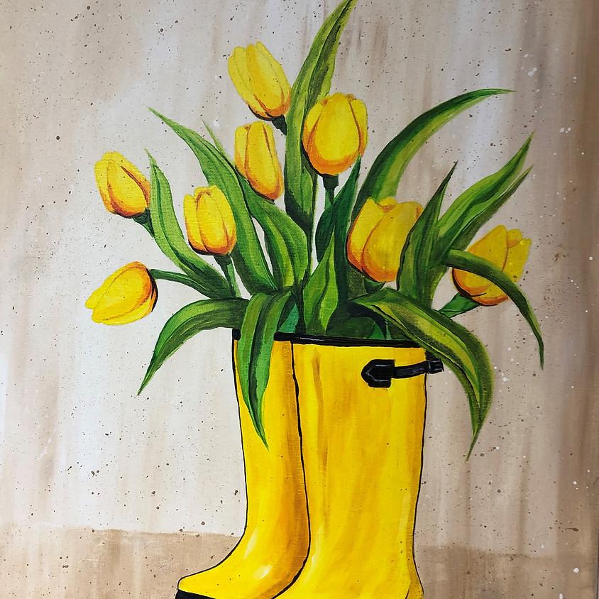 Canvas Paint: Tulips & Rain Boots