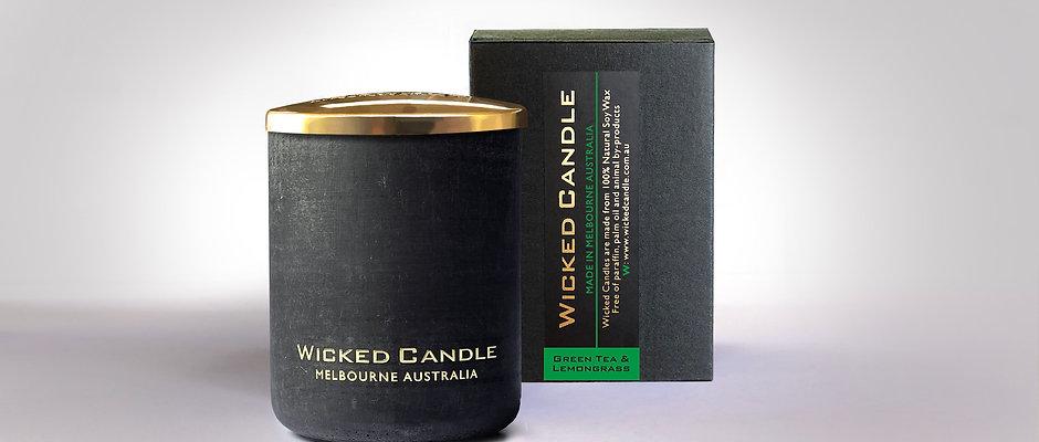 Small Concrete Jar (Black) - Greentea & Lemongrass