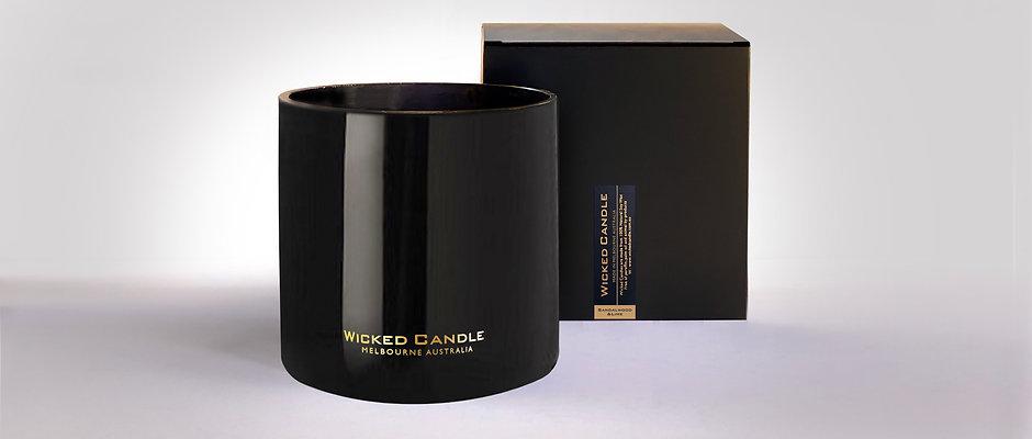 4 Wick Jumbo Jar (Black) - Sandalwood & Lime