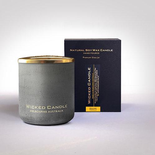 Large Concrete Jar (Grey) - Orange Vanilla