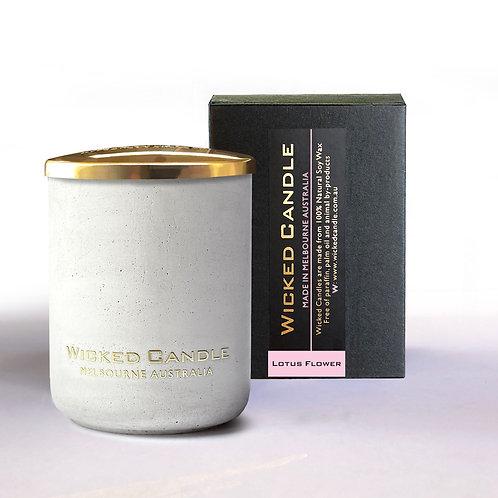 Small Concrete Jar (White) - Lotus Flower