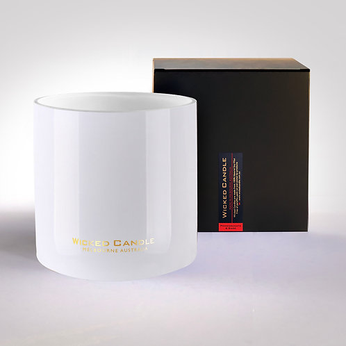 Wick Jumbo Jar (White) - Pomegranate & Sage