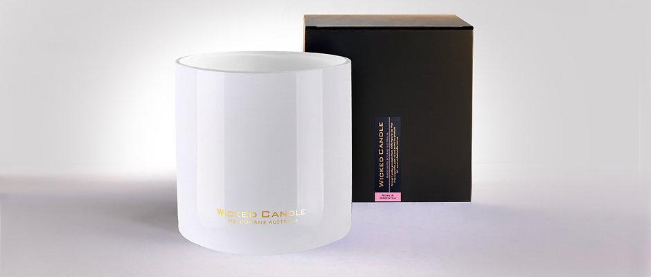 4 Wick Jumbo Jar (White) - Rose & Greentea