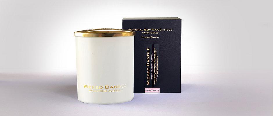 Large Glass Jar (White) - Lotus Flower