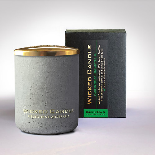 Small Concrete Jar (Grey) - Greentea & Lemongrass