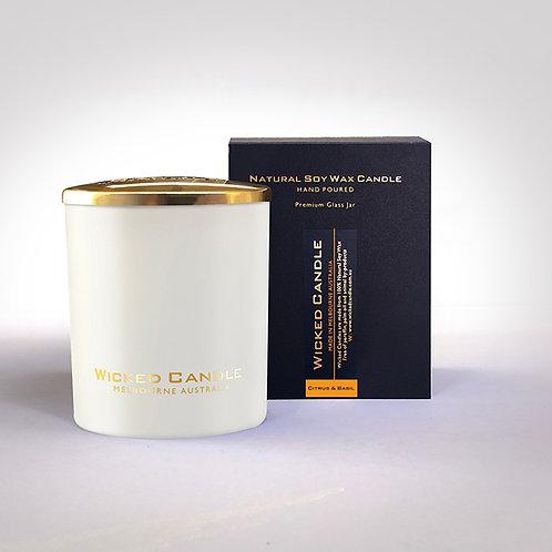 Large Glass Jar (White) - Citrus & Basil