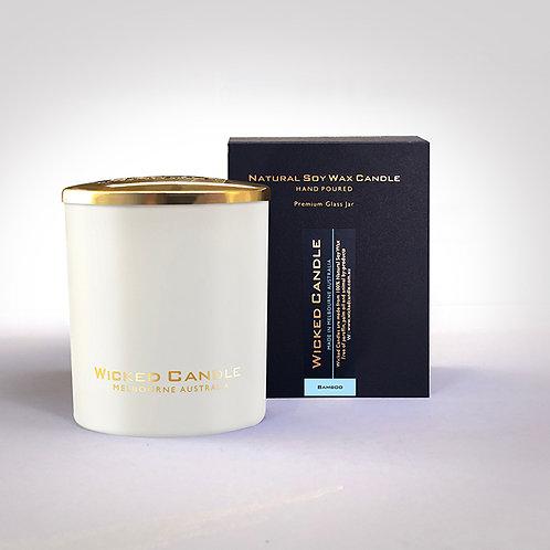 Large Glass Jar (White) - Bamboo