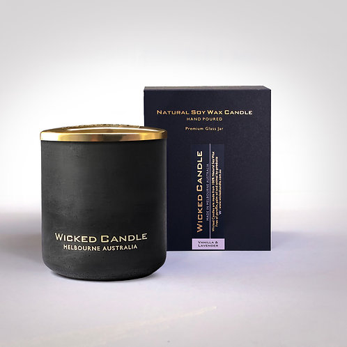 Large Concrete Jar (Black) - Vanilla Lavender