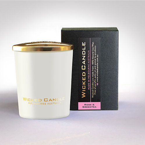 Small Glass Jar (White) - Rose & Greentea