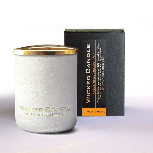 Small Concrete Jar (White) - Citrus & Basil