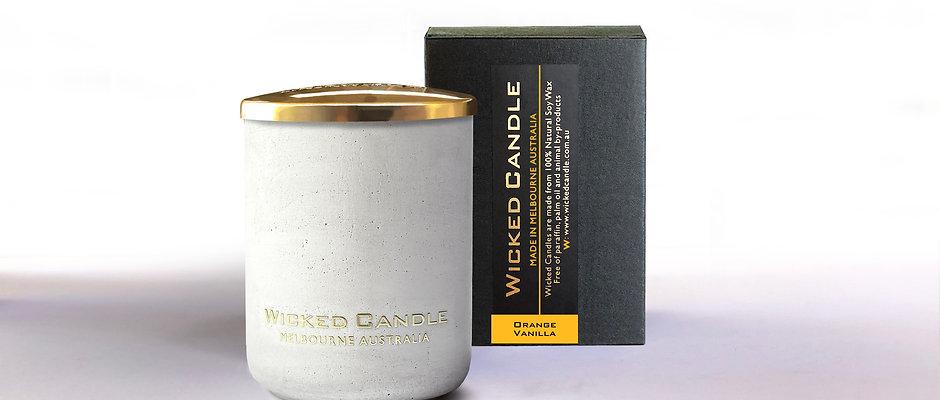 Small Concrete Jar (White) - Orange Vanilla