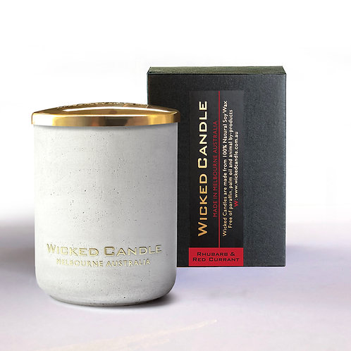 Small Concrete Jar (White) - Rhubarb & Red Currant